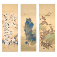 A Hundred Turtles and a Hundred Cranes, a set of tree hanging scrolls「百亀百鶴図(三幅対)」